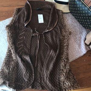 Tops - Brown open fringe vest NWT